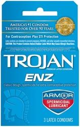 Trojan Enz Armor Spermicidal Lubricated  Condoms - 3 Pack