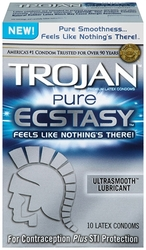 Trojan Pure Ecstasy Lubricated Condoms - 10 Pack