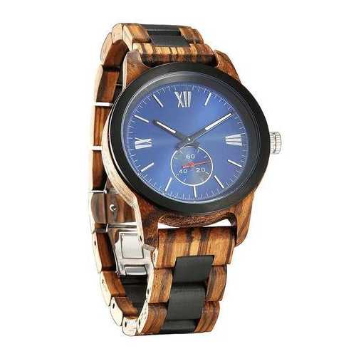 Men Handcrafted Engraving Zebra Ebony Wood Watch - Best Gift Idea!