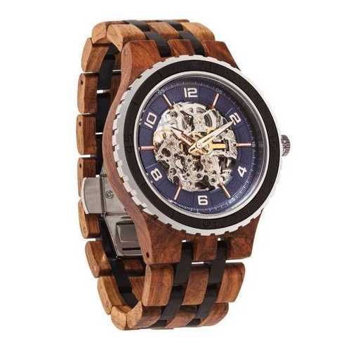 Men Premium Self-Winding Transparent Body Ambila Ebony Wood Watches