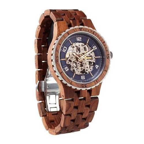 Men Premium Self-Winding Transparent Body Kosso Wood Watches