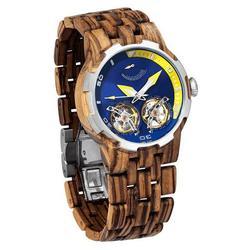 Men Dual Wheel Automatic Zebra Wood Watch - 2019 Most Popular