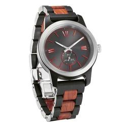 Men Handcrafted Engraving Ebony & Rose Wood Watch - Best Gift Idea!