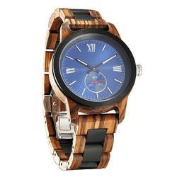 Men Handcrafted Engraving Zebra Ebony Wood Watch - Best Gift Idea!