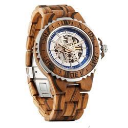Men Genuine Automatic Zebra Wooden Watches No Battery Needed