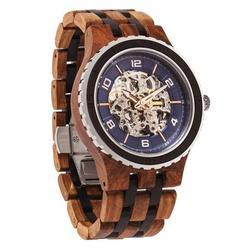 Men Premium Self-Winding Transparent Body Ambila Ebony Wood Watches