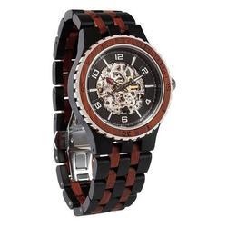 Men Premium Self-Winding Transparent Body Ebony Rosewood Watches