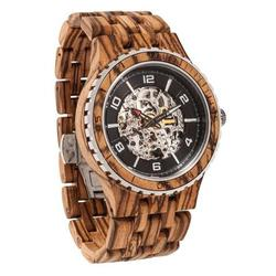 Men Premium Self-Winding Transparent Body Zebra Wood Watches