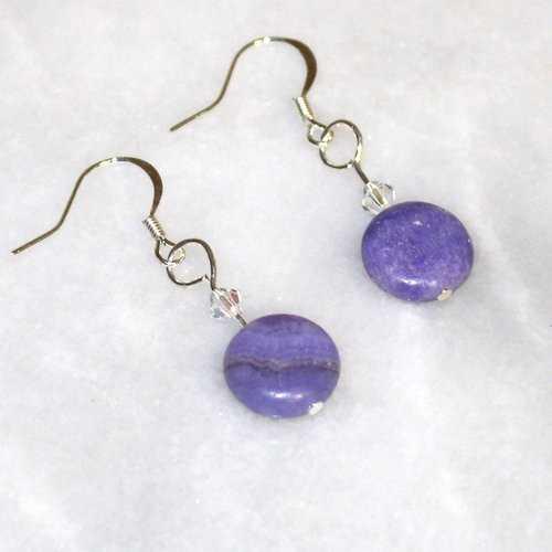 Purple Stone Earrings With Swarovski Crystal - Natural Artist