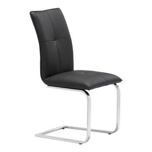 "17"" X 23.4"" X 37"" 2 Pcs Black Leatherette Chromed Steel Dining Chair"