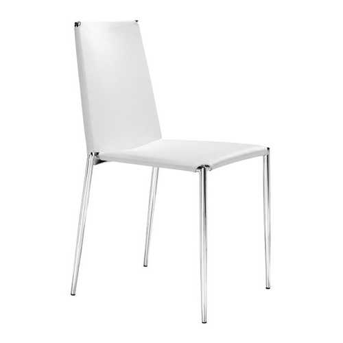 """17.5"""" x 18.5"""" x 33.5"""" White, Leatherette, Chromed Steel, Dining Chair - Set of 4"""