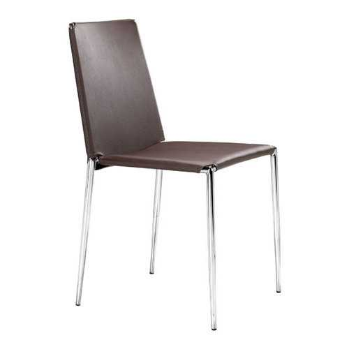 """17.5"""" X 18.5"""" X 33.5"""" 4 Pcs Espresso Leatherette Chromed Steel Dining Chair"""
