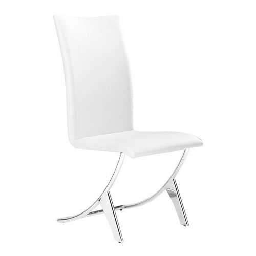 """17"""" x 26"""" x 39"""" White, Leatherette, Chromed Steel, Dining Chair - Set of 2"""