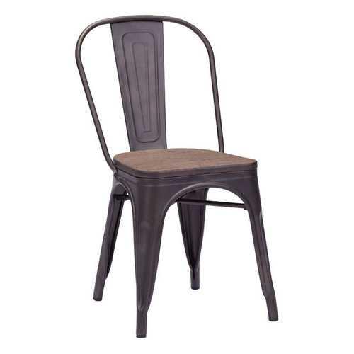 "17.3"" X 20.9"" X 32.3"" 2 Pcs Rusty Elm Wood Top Chair"