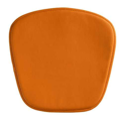 "17"" X 17"" X 0.5"" Orange Leatherette Wire Mesh Cushion Chair"