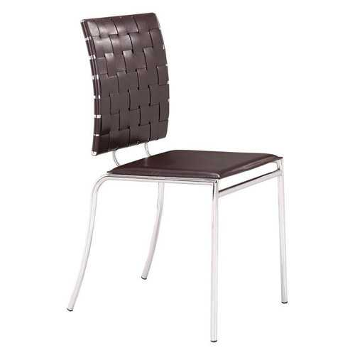 """17"""" X 21"""" X 35"""" 4 Pcs Espresso Leatherette Chromed Steel Dining Chair"""