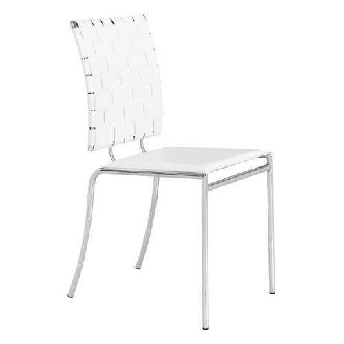 """17"""" X 21"""" X 35"""" 4 Pcs White Leatherette Chromed Steel Dining Chair"""