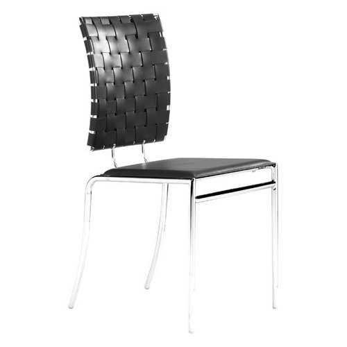 "17"" X 21"" X 35"" 4 Pcs Black Leatherette Chromed Steel Dining Chair"