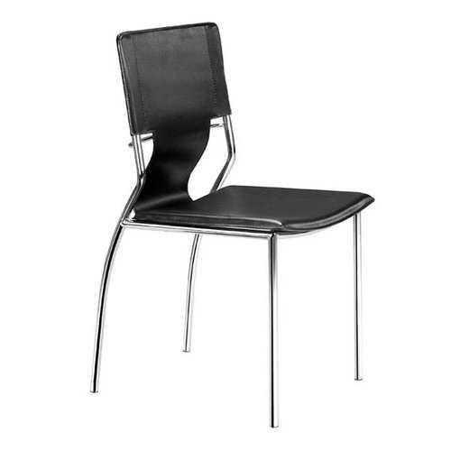 "17"" X 20"" X 33"" 4 Pcs Black Leatherette Chromed Steel Dining Chair"
