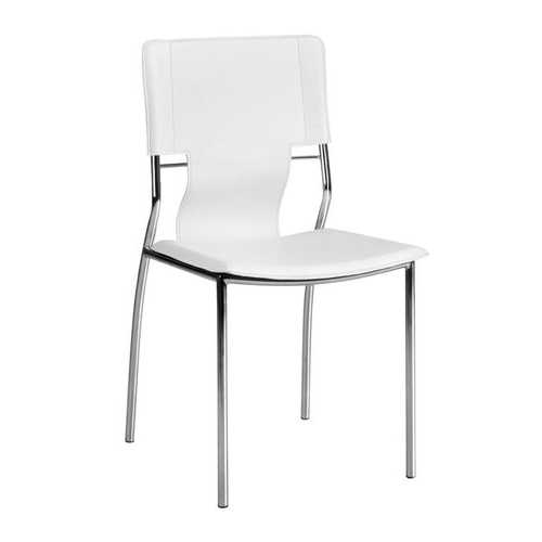 """17"""" x 20"""" x 33"""" White, Leatherette, Chromed Steel, Dining Chair - Set of 4"""