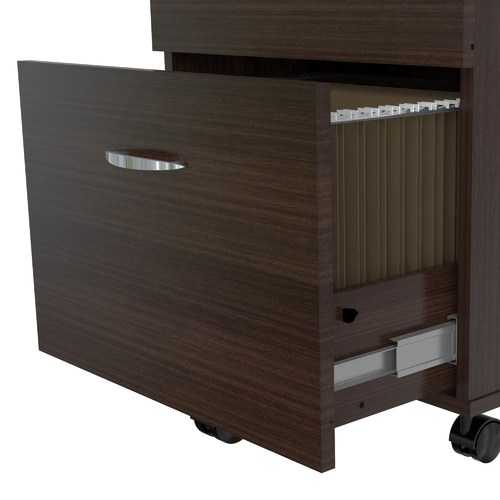 """27.6"""" Espresso Melamine and Engineered Wood File Cabinet with Two Drawers"""