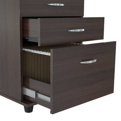 """26.8"""" Espresso Melamine and Engineered Wood File Cabinet with 3 Drawers"""