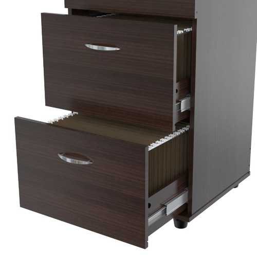 """52"""" Espresso Melamine and Engineered Wood File Cabinet with 4 Drawers"""