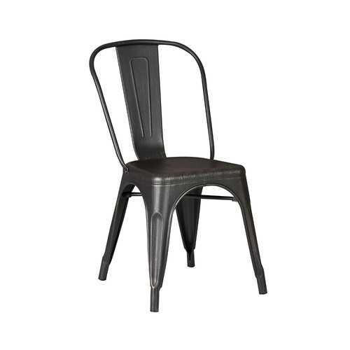 """18"""" Black Distressed Metal Dining Chair With Back in a Set of 2"""