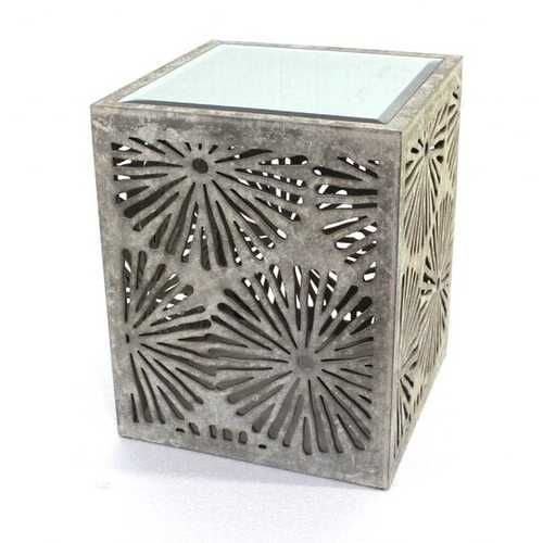 """23"""" x 18"""" x 18"""" Gray Rustic Floral Wooden Mirror End Table/Tea Table"""