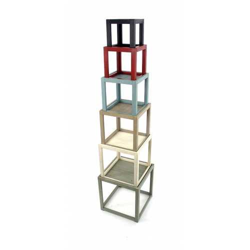 "16.5"" x 16.5"" x 71"" Multi-Color, 6 Layer, Rustic Tower-Like, Wooden - Corner Shelf"