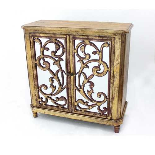 """16"""" x 38"""" x 38.25"""" Gold, Vintage, Mirrored, Wood -  Cabinet"""