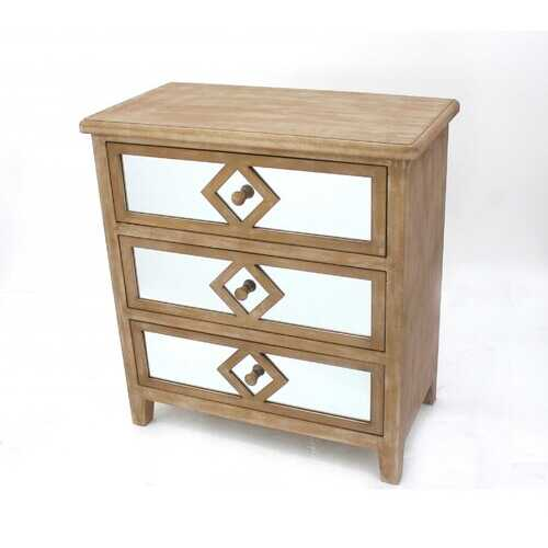 """15.75"""" x 30"""" x 32"""" Tan, Mirrored, 3 Drawer, Wooden - Cabinet"""