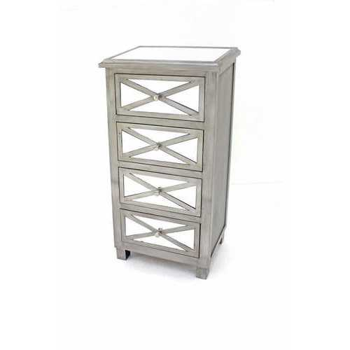 """13"""" x 19"""" x 39"""" Silver, 4 Drawer, Mirrored - Chest"""