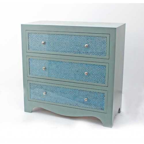 """14"""" x 32"""" x 31.75"""" Blue, 3 Drawer - Console Table"""