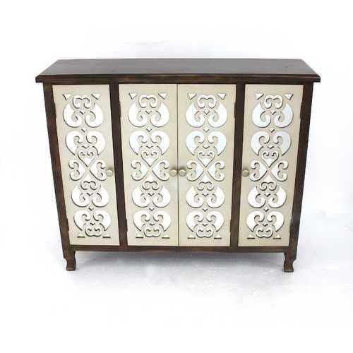 """12"""" x 42"""" x 37"""" Brown & Silver, 4 Door, Wood - Accent Cabinet"""