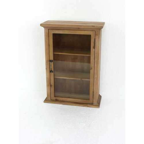 """28"""" X 8"""" X 21"""" Natural Single Door Rustic Wall Mounted Wooden Cabinet"""