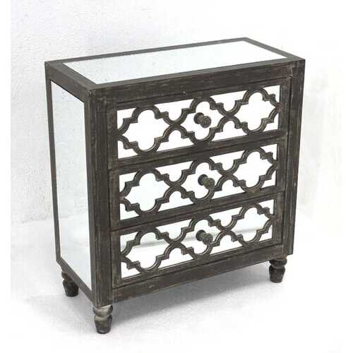 """28"""" X 12"""" X 25.5"""" Gray 3 Drawer Antique Mirrored Wooden Cabinet"""