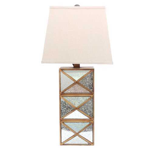 "28"" x 27"" x 8"" Gold Modern Illusionary Table Lamp With Mirrored  Base"