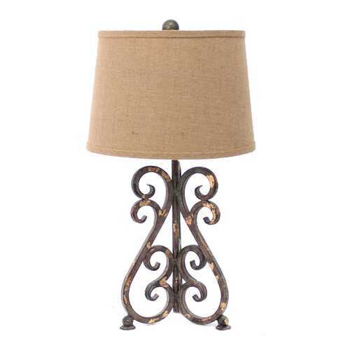 "24"" x 23"" x 6"" Bronze Vintage Metal Table Lamp With Khaki Linen Shade"