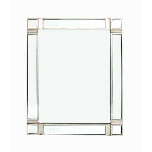 "1.25"" X 30"" X 30"" Silver Modern Wall-Mounted Wooden Mirror"