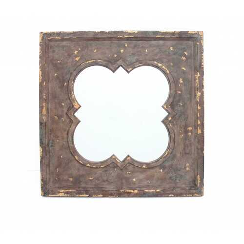 """1.75"""" X 36"""" X 36"""" Bronze Vintage Cosmetic Wall Mirror With Quadrate Frame"""