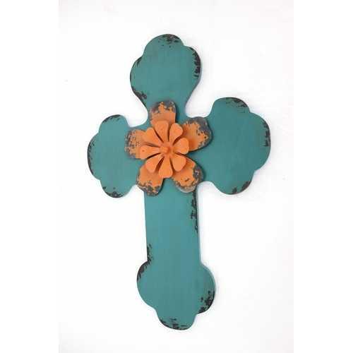"1"" x 15.75"" x 23.75"" Blue, Rustic Cross, Wooden - Wall Decor"
