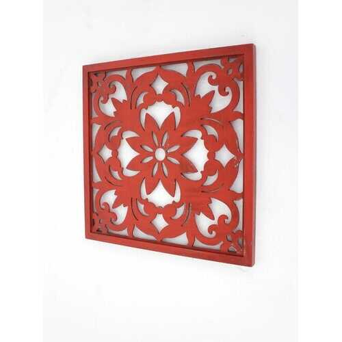 """1"""" x 24"""" x 24"""" Red, Vintage, Floral - Wall Plaque"""