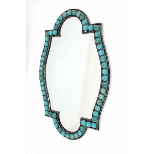 "1.75"" X 30"" X 47"" Blue Traditional Dressing Mirror With Decorative Metal Frame"