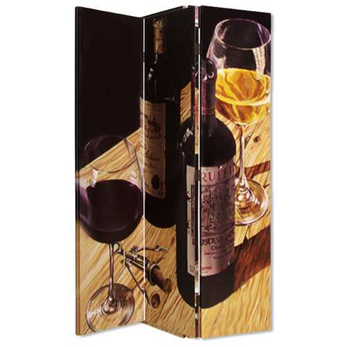 """48"""" X 72"""" Multi-Color Canvas Screen With Wine Image"""