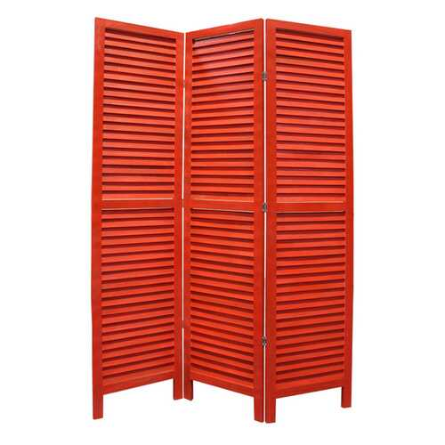 "1"" x 48"" x 67"" Red, Wood, Shutter -Screen"