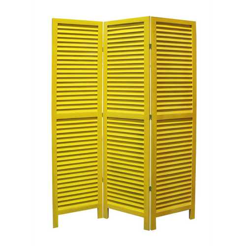 "1"" x 48"" x 67"" Yellow, Wood, Shutter - Screen"