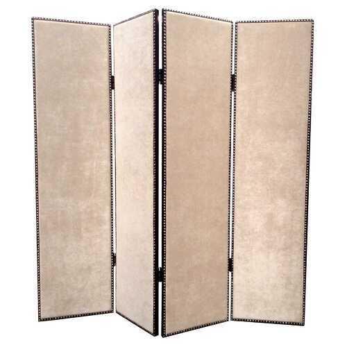 """1"""" x 84"""" x 84"""" Beige Wood & Fabric Chateau  Screen"""