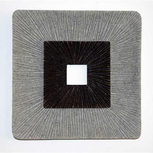 "1"" x 14"" x 14"" Brown & Gray, Square, Ribbed - Wall Art"