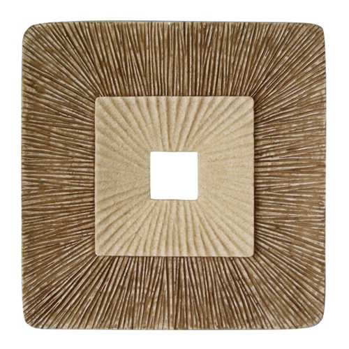 "1"" x 14"" x 14"" Brown, Concave, Square, Double Layer Ribbed - Wall Plaque (Set of 2)"